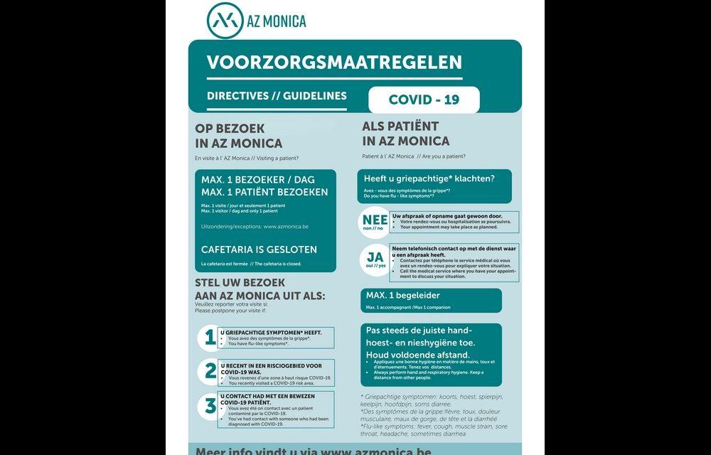 Bijkomende voorzorgsmaatregelen in AZ Monica